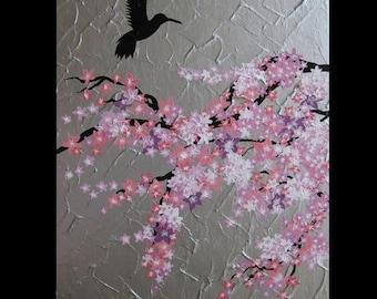 "cherry blossom, tree, painting, pink, purple , white, Japanese, blossoms,  trees, honey eater bird, paintings, pretty, art, grey, 20"" x 16"""