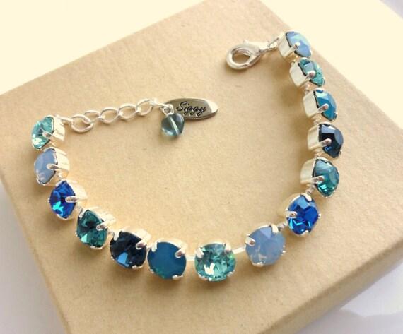 swarovski crystal tennis bracelet 8mm blue bridesmaids gift. Black Bedroom Furniture Sets. Home Design Ideas