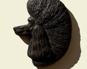 Hand painted black Poodle dog Pudel Caniche Barbone Barboncino PERITAS wall sculpture statue fine art relief