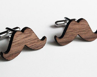 Moustache Wood Cuff Links, movember, wedding, groomsmen gift for him one of a kind