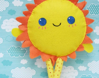 Sun Baby Toy, Nursery Decor, Cloud Room, Yellow& Orange, Kids Gift, Crib Toy
