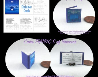 CHRISTMAS CAROLING SONGBOOK Miniature Book Dollhouse 1:12 Scale Readable Illustrated Book