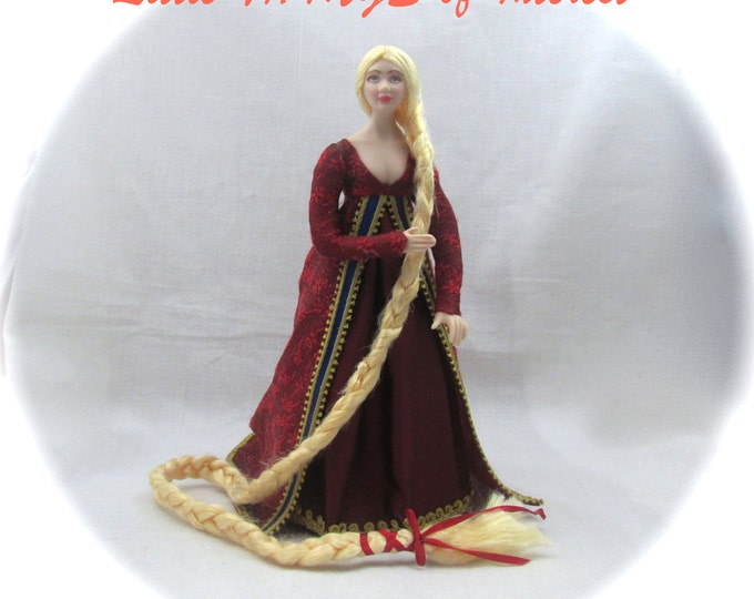 Dollhouse Doll RAPUNZEL Pattern And Instructions for 1 inch Scale Doll Dollhouse Digital Download DIY Pdf Disney Princess Witch Magic
