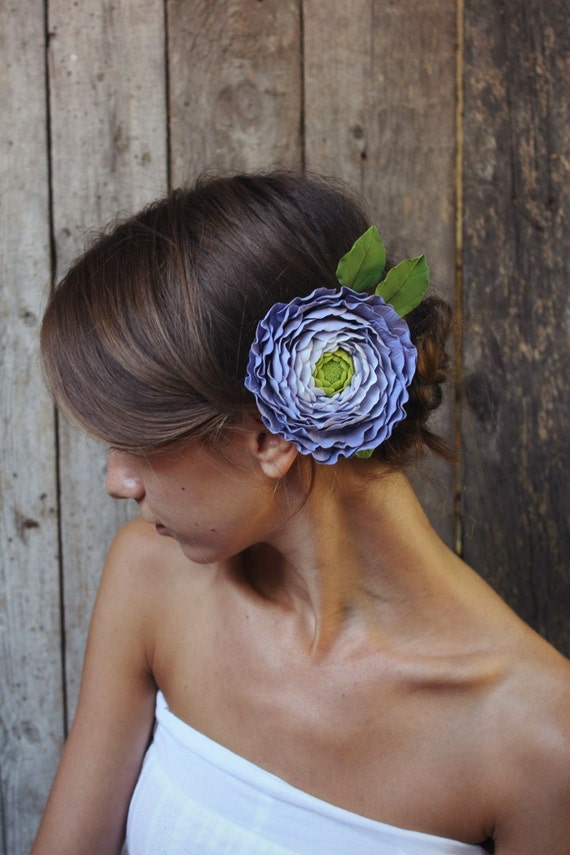 Hair clip polymer clay flower. ranunculus.