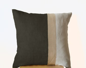 linen throw pillow covers, linen pillow bold stripe, gray pillows, linen cushion, grey throw pillows, grey cushions, color block pillows