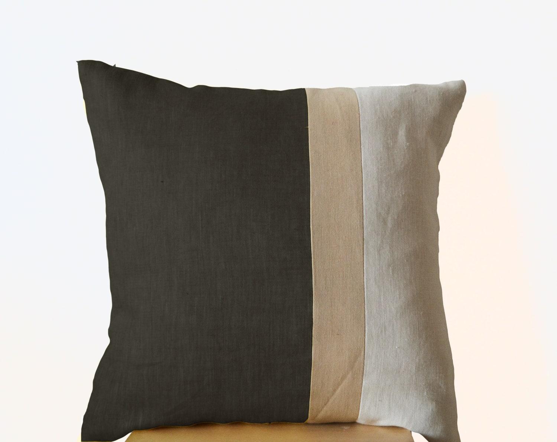 Throw Pillows For Grey Sofa : Grey Pillow Throw Pillows color block Couch Pillows by AmoreBeaute