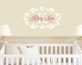 Girl Name Wall Decal - Nursery Wall Decal - Kids Room Wall Decal - Personalized Name Decal Monogram - Wall Decal Nursery Decor