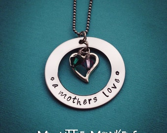 Custom Personalized Hand Stamped Mothers Necklace - Heart with Swarovski Crystal Birthstone Charms