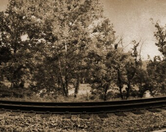 Train Tracks Panorama - 9x40 in. - Castlewood State Park - St. Louis, MO - Wall Art - Wall Decor