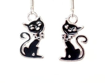 Sassy Black Cat Silver-plated Earrings