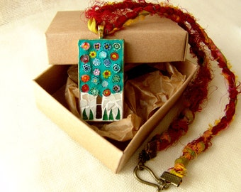 Tree of life pendant, mosaic necklace, stained glass jewelry, millefiori beads, free shipping