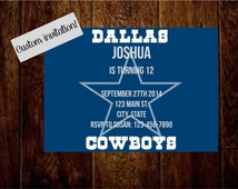 PRINTABLE Dallas Cowboy invitation! Football Dallas cowboys birthday game day party playoff boy party guy man cave bachelor party