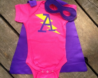 Personalized Superhero Baby Outfit Girls Bodysuit with Cape and Mask Custom Birthday or Party Super Hero with Lightening Bolt and Initial