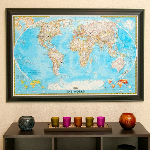 Classic World Travel Map With Pins And Frame By