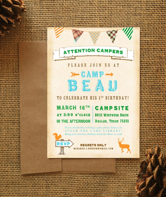 Camping Theme Invitations: Items Similar To Rustic Camping Theme Birthday Party