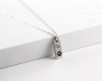 Pet Memorial Jewelry, Sterling Silver Memorial Necklace, Dog Paw Print Initial Necklace, Pet Loss Remembrance Gift, Personalized Dog Jewelry