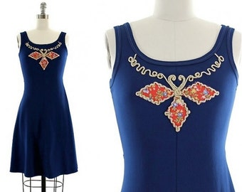 vintage 70s blue mini dress / embroidered tank dress S