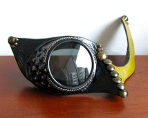 Steampunk Halloween Mask With Goggles and Green Leather - The Steel Skylark