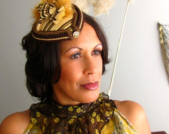 Steampunk Fascinator Hat, Butterscotch with Feathers, 1940's Hat or Derby Hat - Butterscotch Ripple