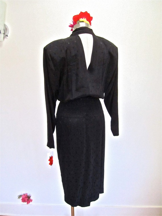 M 80s NWT Keyhole Back Double Breasted Black Dress Shoulder