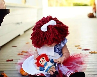 Red Raggedy Ann Wig Hat With Attached Bow. Hand Made. Preemie to Toddler Sizes