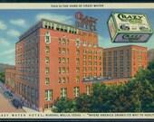 Mineral Wells Texas Postcard Crazy Water Hotel Linen Postmarked 1946 Curteich