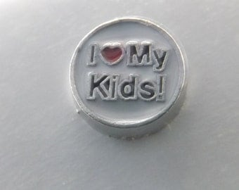 Kids Floating Charm Love my kids charm locket charm I love kids charm
