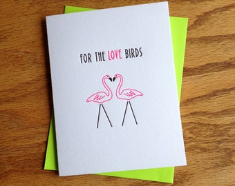 For the Love Birds - Hot Pink Flamingos: Letterpress Card