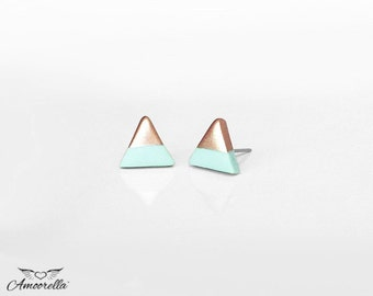 PALE MINT Rose Gold Dipped Triangle Stud Earrings, Hypoallergenic Studs, Everyday Lightweight Earrings, Geometric Studs by Amoorella Jewelry
