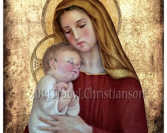 Madonna and Child (G) Catholic Art Print Blessed Virgin Mary, Baby Jesus #4028