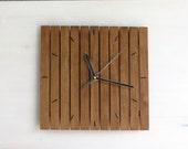 Praf III, wall clock 24x24cm minimal style simple square walnut silent wooden wall hanging clocks wood walnut old silent movement, Paladim