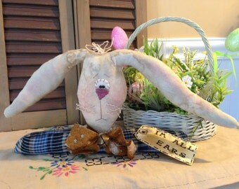 "Primitive Country Easter Bunny with Long Ears, ""I'm All Ears"" Shelf Sitter Decoration"