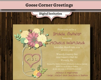 Mason Jar Shower Invitation Floral Rustic Wedding Mason Birthday Rehearsal Dinner Any Color Pink and Green digital file