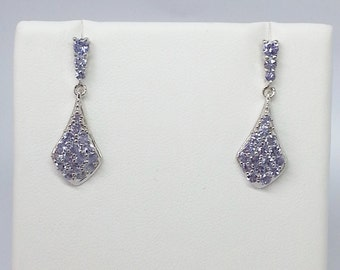 Tanzanite 1.34ctw Round Sterling Silver Earrings