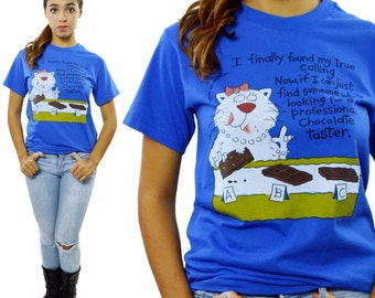 RESERVED Vintage 90s Cat Chocolate Lover Funny T Shirt 50/50 Sz S