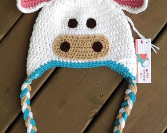 Blue Pink and White Cow Hat, Infant Cow Hat, Baby Crochet Hat, Newborn Photo Prop, Cow Hat