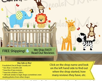 Jungle Animals Wall Decals, Monkey, Elephant, Giraffe, Lion Wall Stickers(SG Color Me Happy Animals Only) SGA