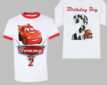 Disney Cars Birthday Shirt - Front and Back Ringer Shirt