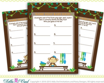 Baby Food Boy Monkey Baby Shower Game, Name that food game for a Boy Baby Monkey- jungle game- ONLY digital file -ao41
