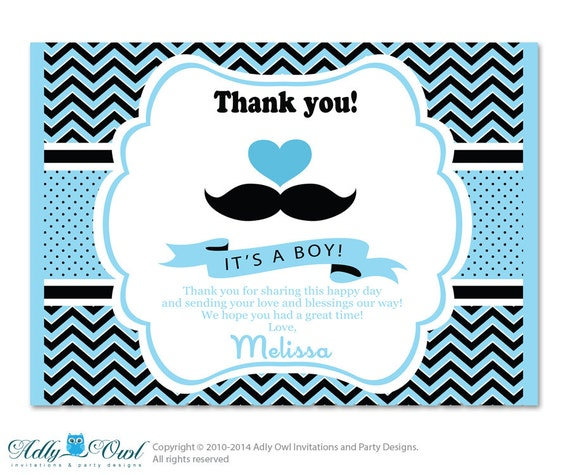 Boy Mustache Thank You Card With Personalization Boy Mustache Baby