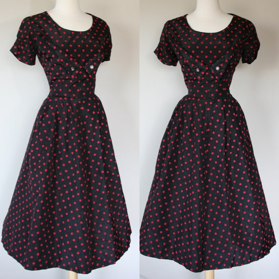 Vintage 1950s black taffeta, red velvet polka dot dress. Large.