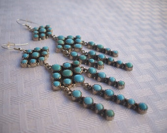 "Emma Lincoln NAVAJO Sterling Silver & TURQUOISE Cluster Chandelier Petit Point EARRINGS, 4"" Long"