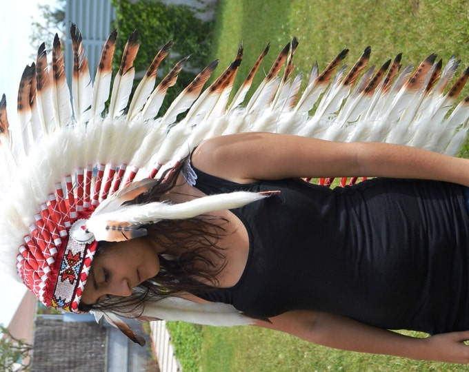 Z29 Extra Large Brown Feather Headdress (43 inch long )