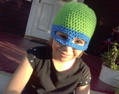 Ninja turtle beanie hat and mask; Made to order, any size newborn to adult