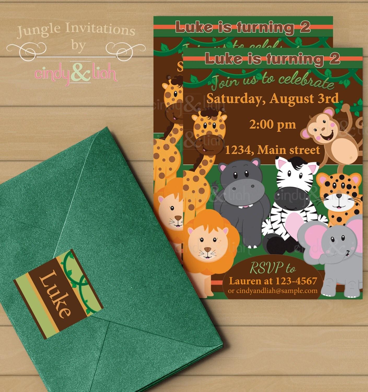 Jungle Birthday Invitation Address Labels And Envelope Seal