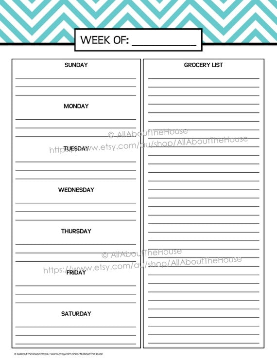 Like This Item?  Menu Planner Template Printable