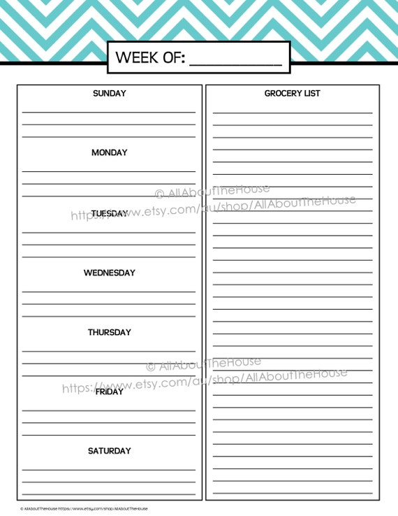 Weekly Meal Planner Printable chevron blue Menu Planner PDF