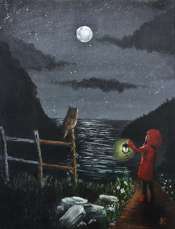 Items similar to black and white painting with color accents of a starry sky owl