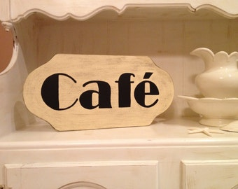 Cafe Sign, Handpainted Cafe Wood Sign in Custom Colors