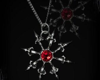 Handmade Gothic Chaos Star, Darkhaos, gothic pendant, medieval pendant, gothic jewelry, dark, satan, lucifer warhammer